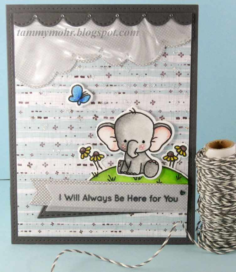 Handmade card featuring My Favorite Things Adorable Elephant stamp set. #mftstamps