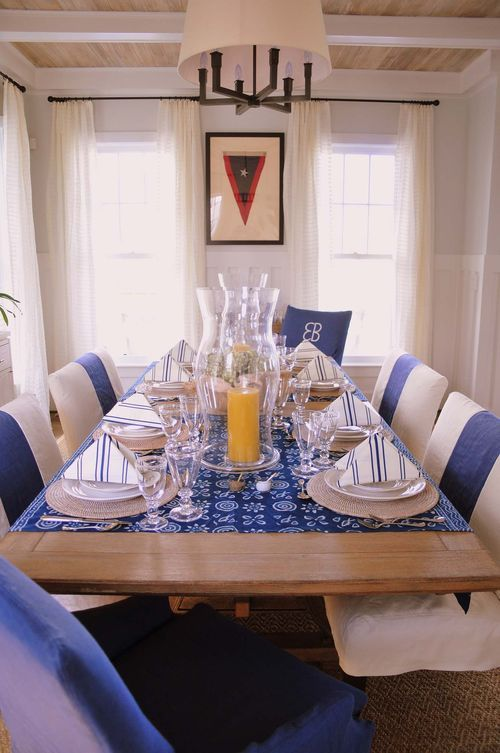 This Is A Tablescape That Speaks To Me Fourth Of July Beach Dining Room Nautical Kitchen Decor White Dining Room