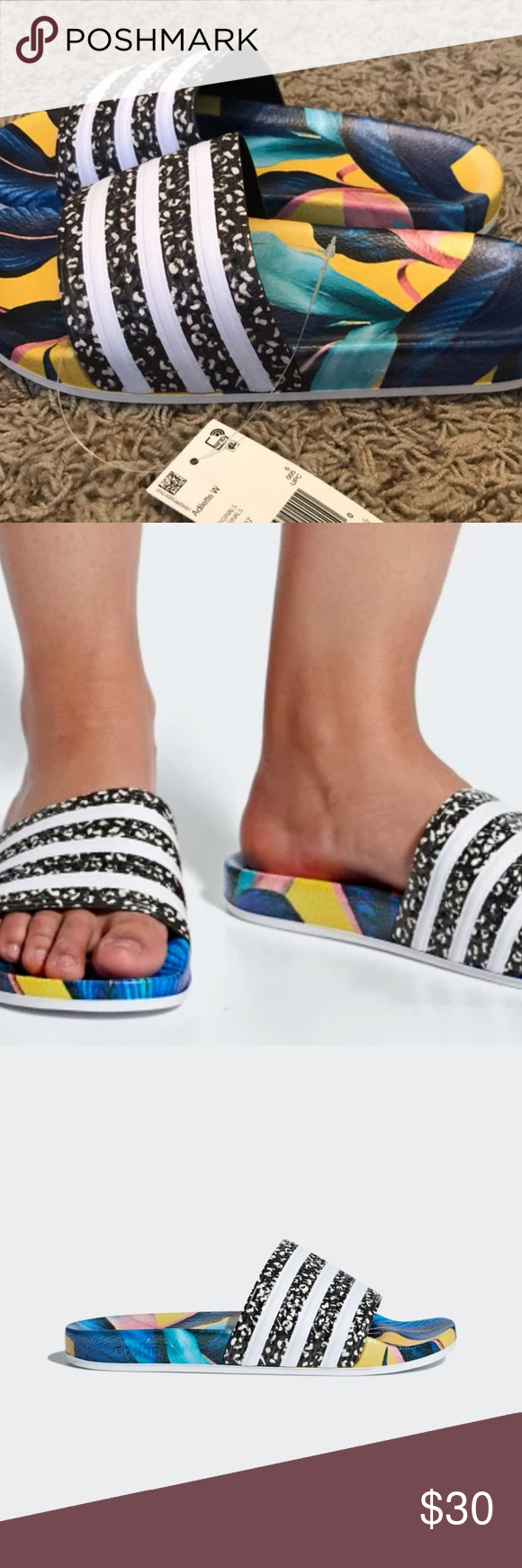 f2bef6e0a024 Womens Adidas adilette slides - new! WAUW! Talk about standing out from the  crowd - these slides are amazing. AN ADILETTE SLIDE WITH A VIBRANT TROPICAL  LEAF ...