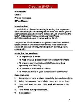 Creative Writing Syllabus   Creative Writing   Plagiarism DocShare tips    pages CRWR             Course Outline and Syllabus