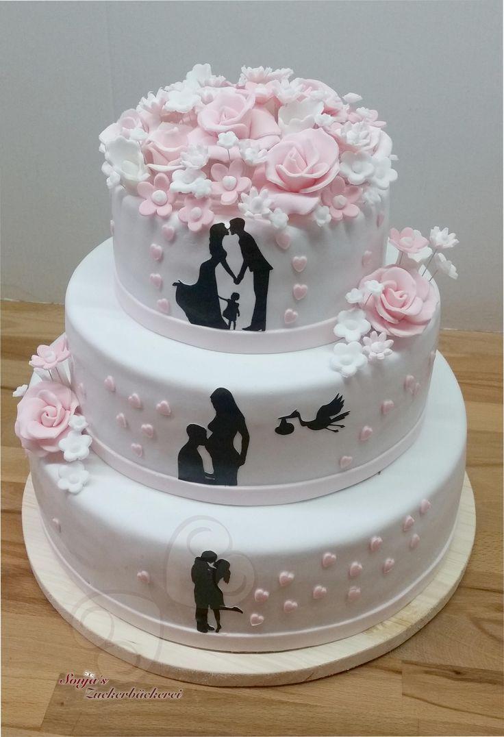 Photo of Hochzeitstorte mit Schattenbildern und rosa / weißen Blumen