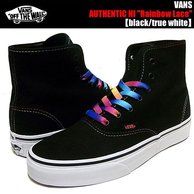 Rainbow laces, Black laces, Vans authentic
