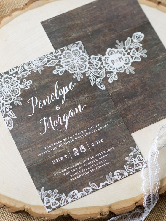 Find This Pin And More On Rustic Wedding Ideas By Ellinee Our New Woodgrain Lace Invitations