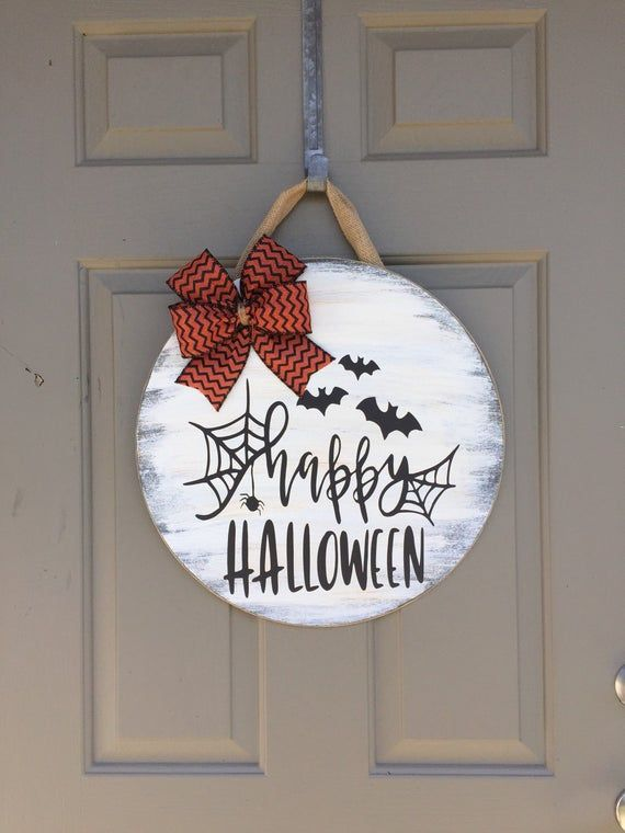 Happy Halloween Door Hanger, Halloween Door Hanger, Halloween Door Decor, Halloween Wreath, Halloween Sign, Black White And Orange Halloween #halloweendoordecor