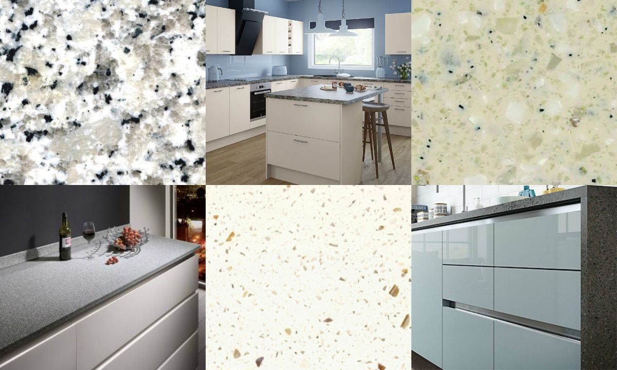 Totally terrazzo White modern kitchen, Kitchen worktop