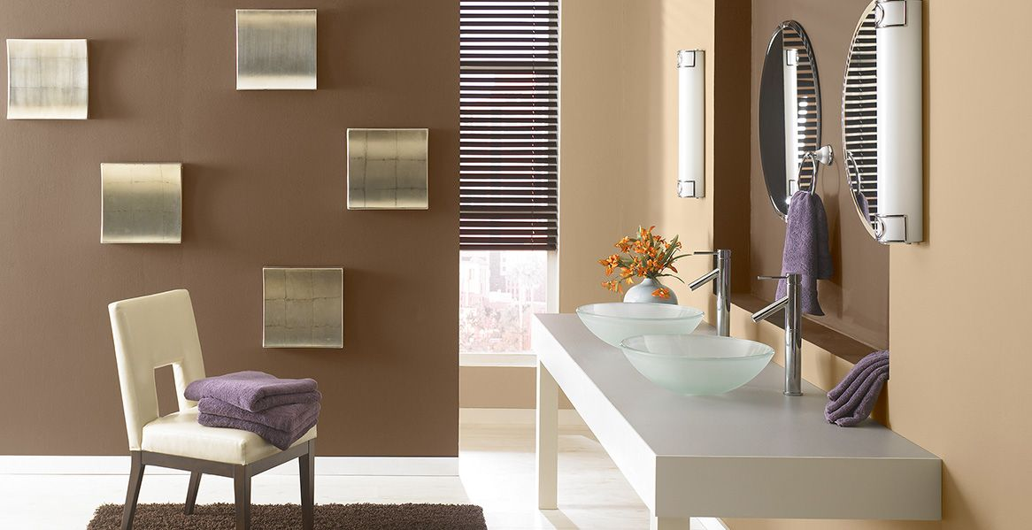 Love the mushroom bisque color on the lighter wall for Light brown interior paint