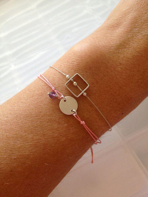 Items similar to Initial Stamp Wish Bracelet with Tiny Stone – Customizable Wish Bracelet – Friendship Bracelet – Sterling Disc with Clasp – Keepsake Jewelry on Etsy