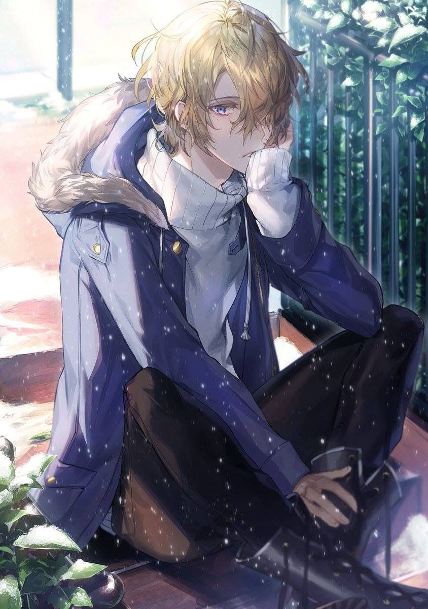 Blonde Anime Guy Epic Art Winter Snow Anime art