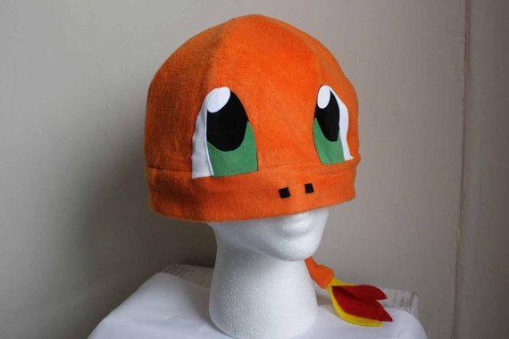 Charmander Hat With Tail Pokemon Fleece Hat Anime Manga Cosplay Rave ...