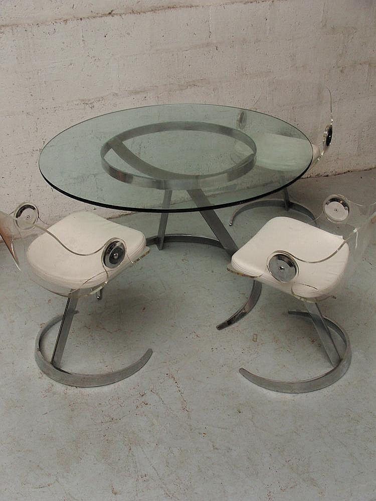 Etienne FERMIGIER circa 1970 Table de salle à manger en verre et