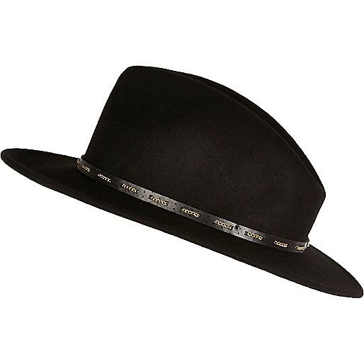 moderne et élégant à la mode économies fantastiques prix pas cher Chapeau fedora noir à galon en chaîne - Chapeaux ...