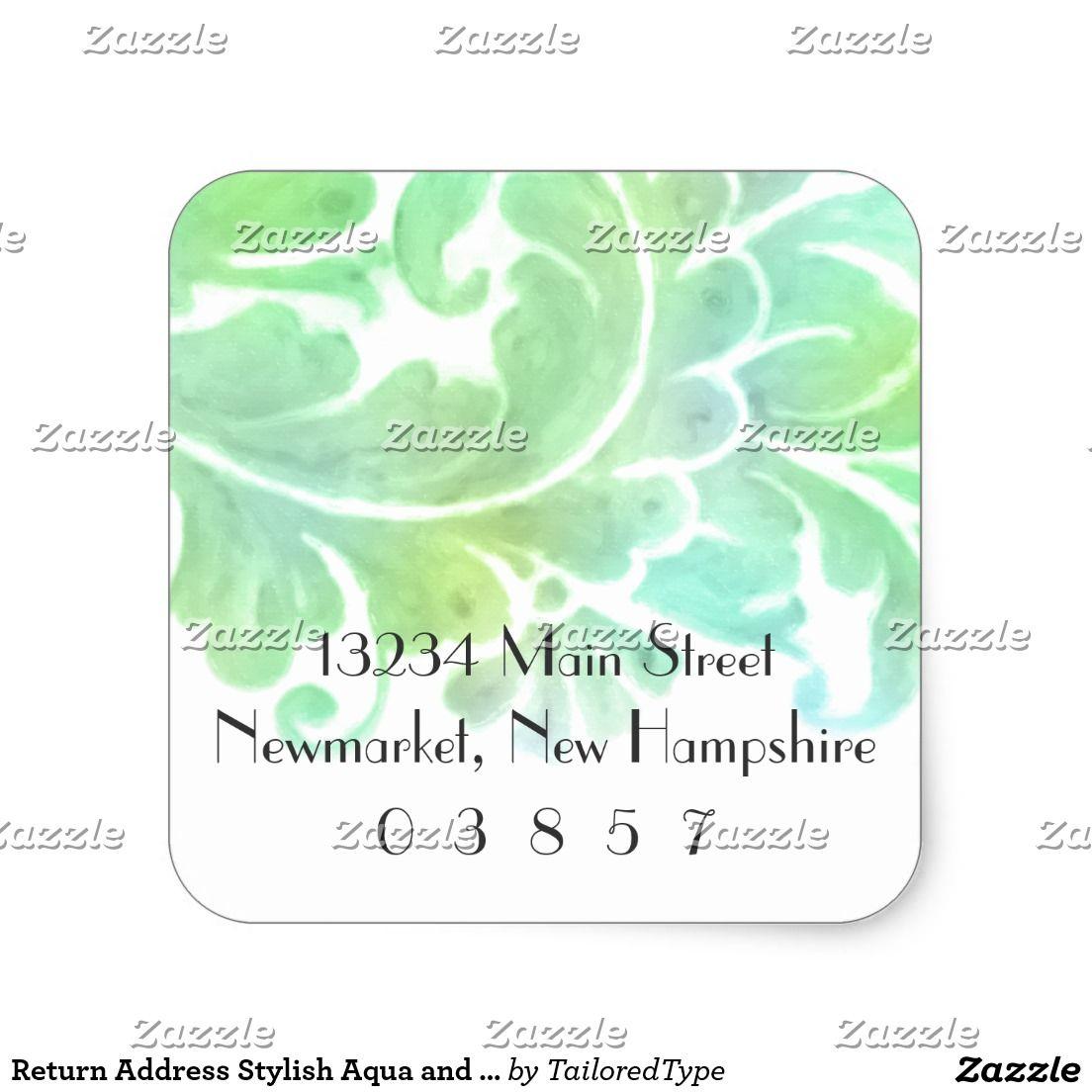 Return address stylish aqua and green watercolor custom address stickers pinterest