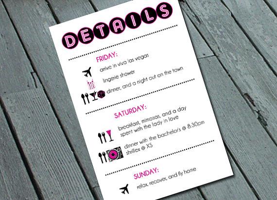 vegas bachelorette party itinerary details card digital printable