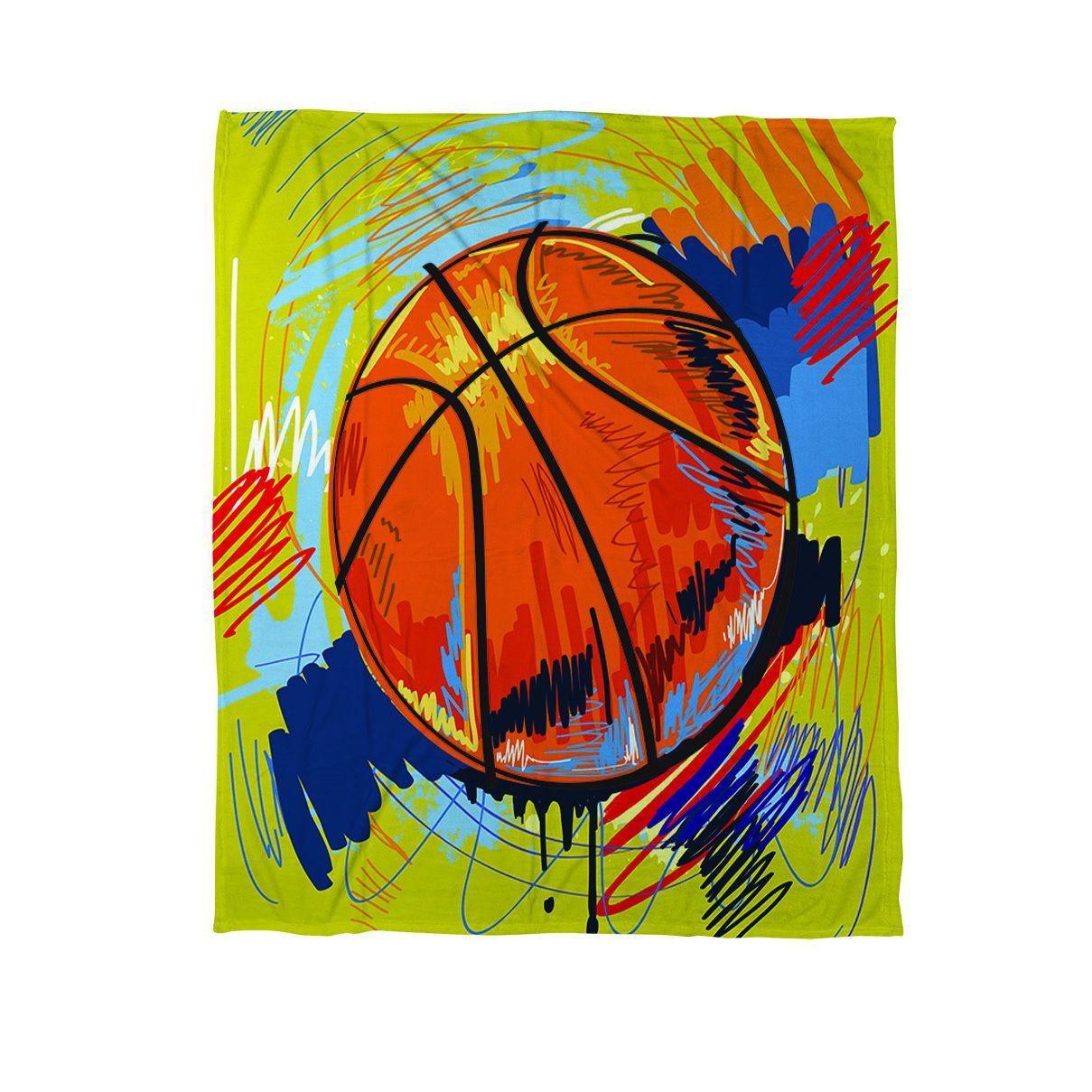 Thumbprintz Basketball Slam Dunk Coral Fleece Throw