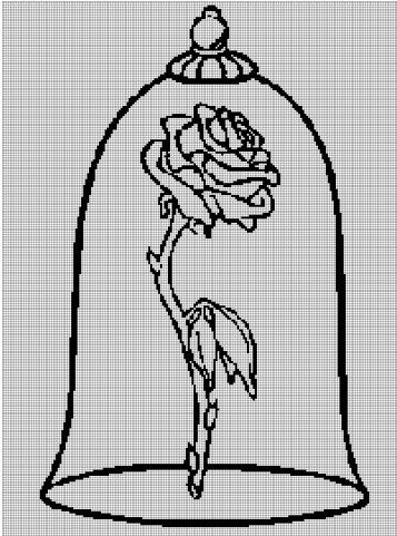 Rose from 'Beauty and the Beast' coloring cross stitch