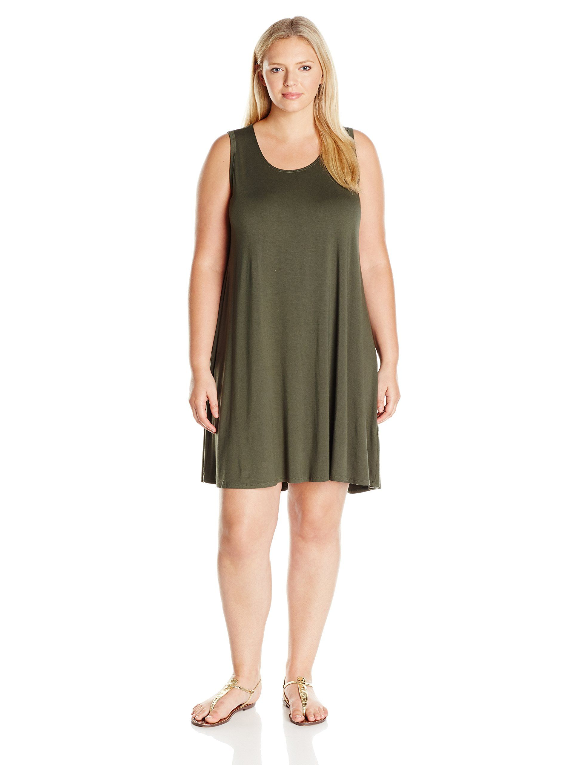 Karen Kane Womens Plus Size Olive Green Maggie Trapeze Dress