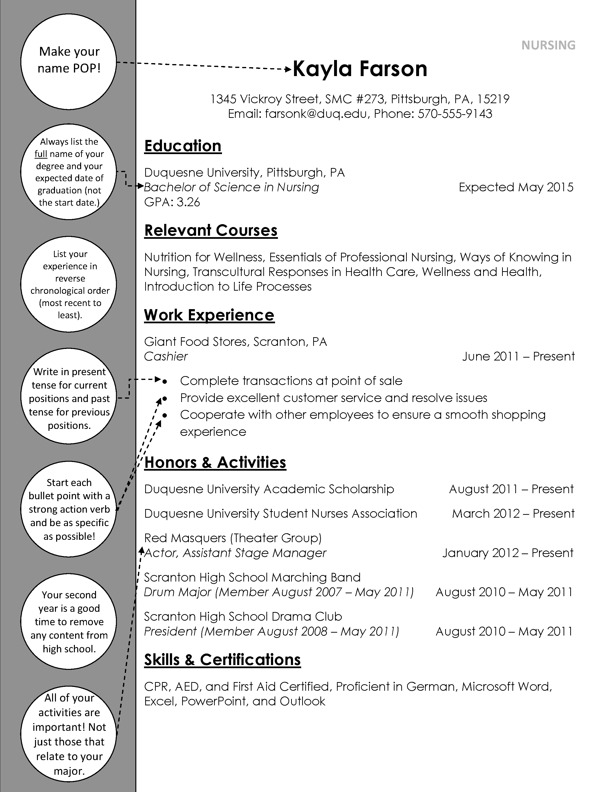 Nursing Underclass Resume Duquesne Resume & Cover Letter