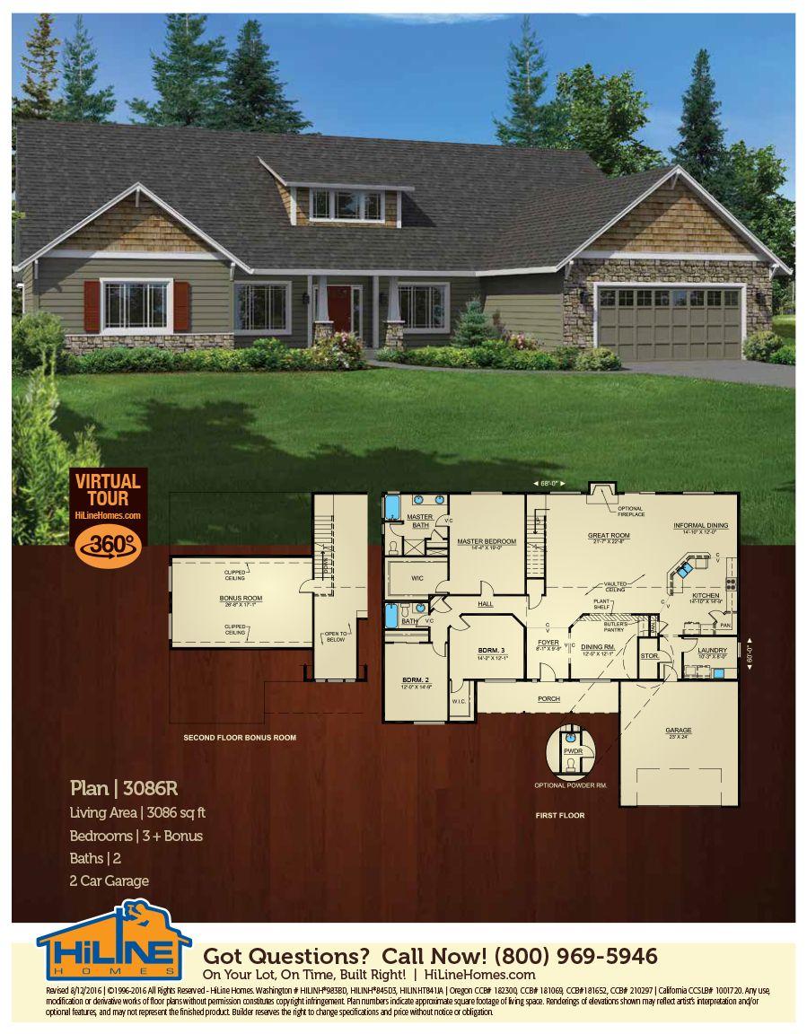 Floorplan 3086 Floor plans, House plans, Open floor plan