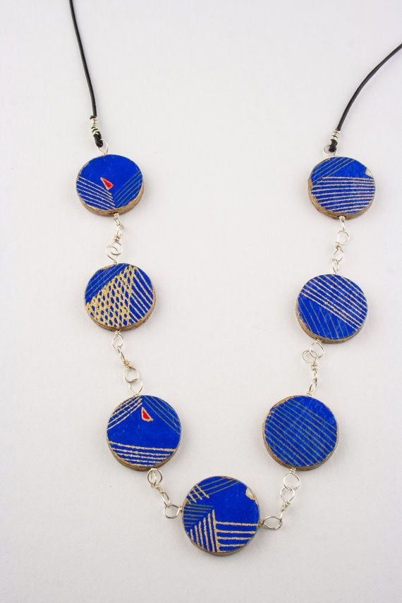 Handmade paper bead necklace in blue and gold by ThePaperFuchsia