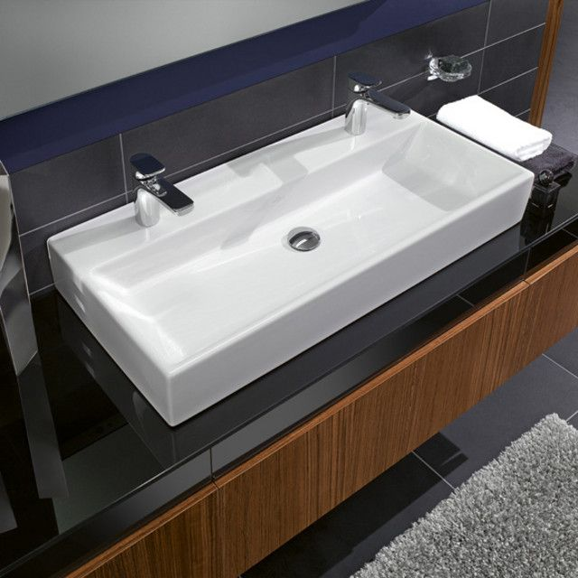 Large Bathroom Sink With Two Faucets With Images Modern
