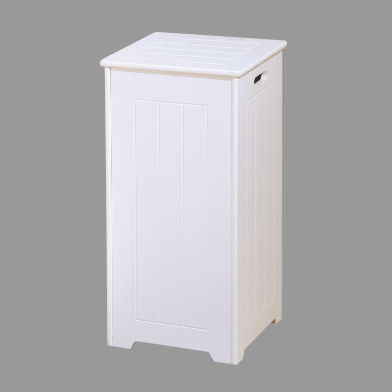 White Wood Bathroom Furniture Shelves Cabinet Laundry Hamper Basket Under Sink