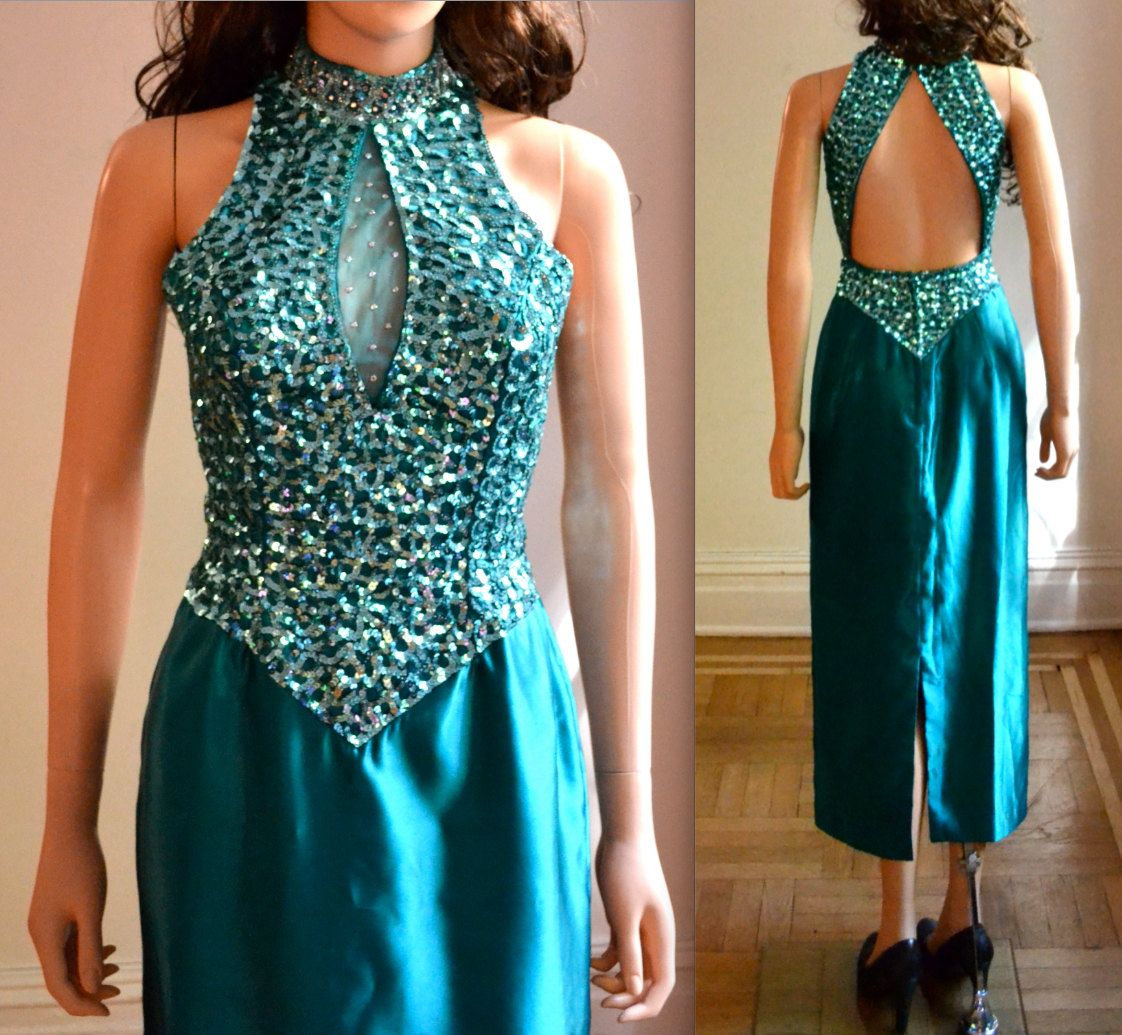 80s Prom Dress Size Small Sequin Gown By Mike Benet Blue Green// 80s ...