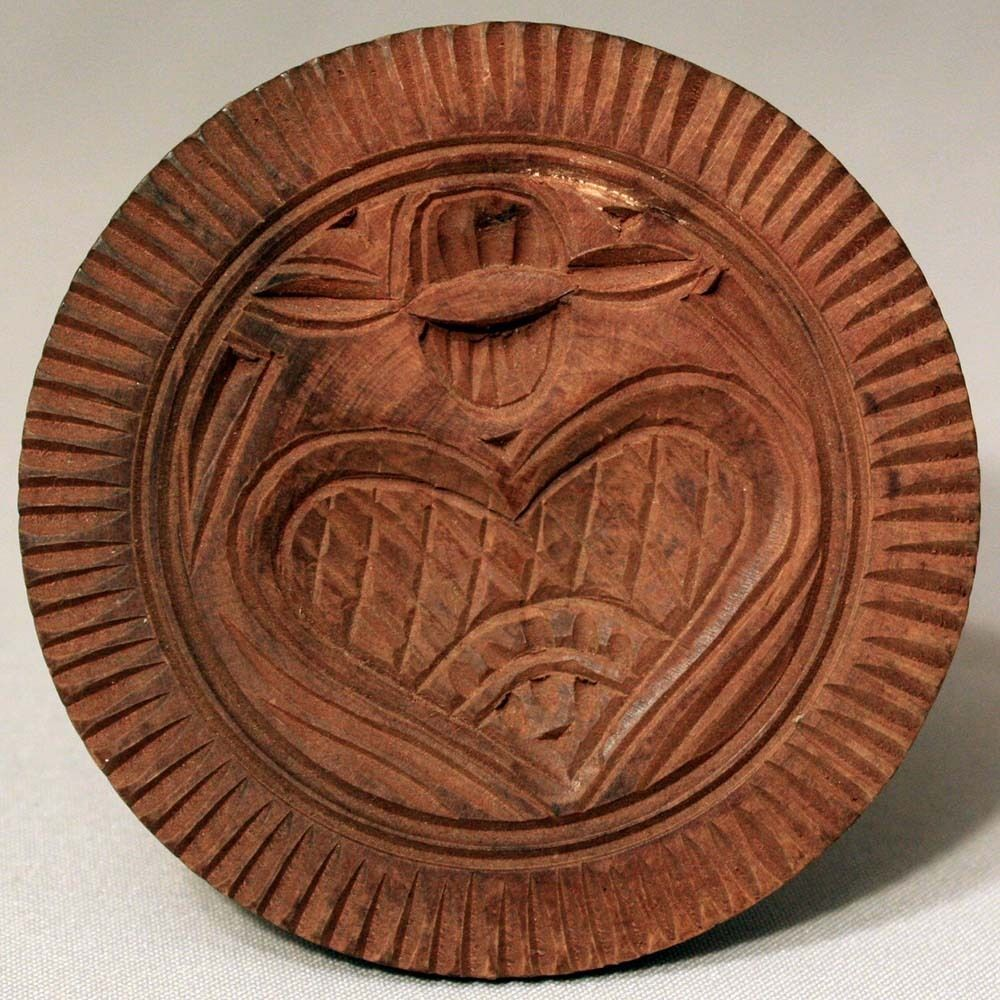 Antique vintage wooden carved heart butter stamp mold press