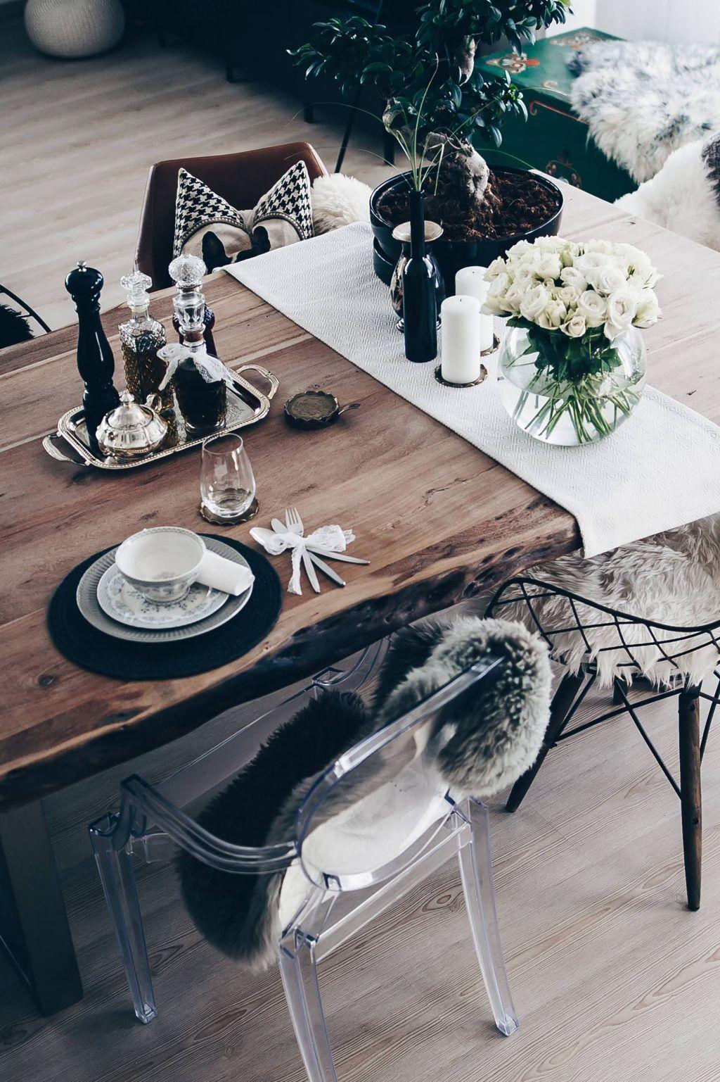 Tischdekoration Fur Jeden Tag So Habe Ich Unseren Essbereich Gestaltet Rustikale Esszimmer Essbereich Design Und Diy Esstisch