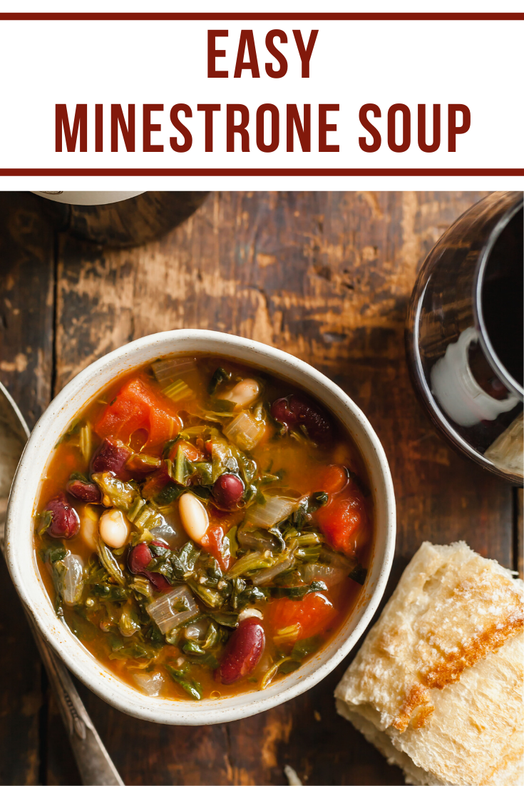 Easy Minestrone Soup In 2020 Minestrone Soup Easy Vegan Soup Recipes Meatless Dinner