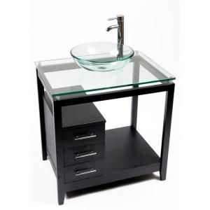 Bionic Gina 31 In Vanity In Dark Venge With Glass Vanity Top And