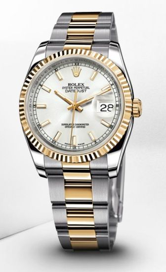 Rolex Datejust 36mm Steel And Yellow Gold Silver Dial Oyster Bracelet 116233