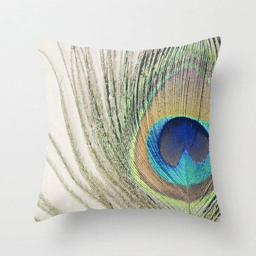 Peacock Feather throw pillow cover boho chic home decor feather