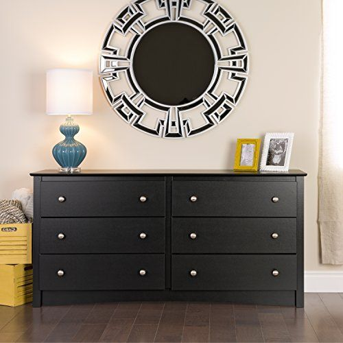 This striking black modern six drawer dresser adds a touch of class