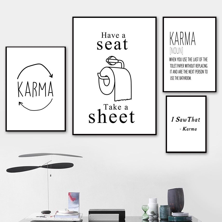 Toilet Paper Karma Nordic Posters And Prints Wall Art Canvas Painting Black White Wall Pi In 2020 Wall Art Canvas Painting Canvas Art Wall Decor Living Room Art Prints