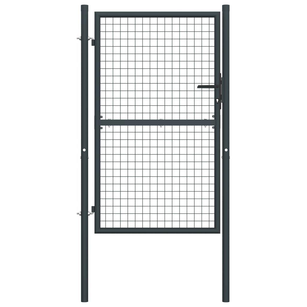 vidaXL Mesh Garden Gate Galvanised Steel 39.4″x78.7″ Gray