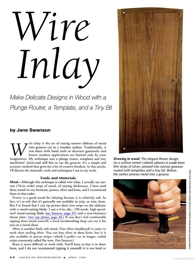 How to Wire Inlay in wood. Also lots of articles for woodworking projects.