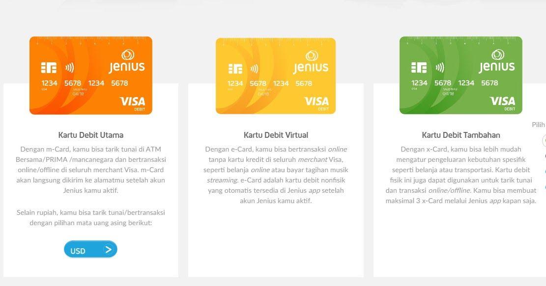 Mengenal 3 Jenis Kartu Debit Jenius Dan Keuntungan Memilikinya Kartu Jenis Kartu Kredit