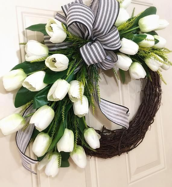Photo of Tulip wreath, spring wreaths, for front door, peasant wreath, grapevine, housewarming gift, for mom, for her, summer, porch decor, tulips