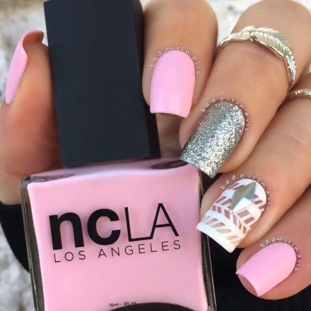 pink and silver acrylic nails uas acrilicas rosa y plata