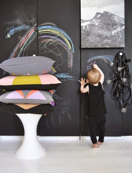 Mine børn kommer også til at må tegne på væggen