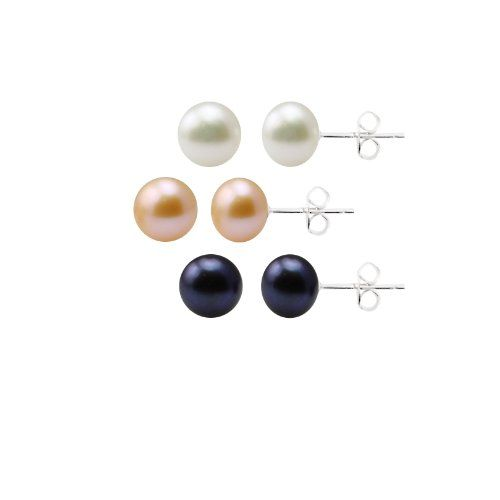 Set of 3 White, Peacock and Pink Freshwater Cultured Pearl Stud Earrings with Sterling Silver Post and Backs (8-8.5mm) (Jewelry)