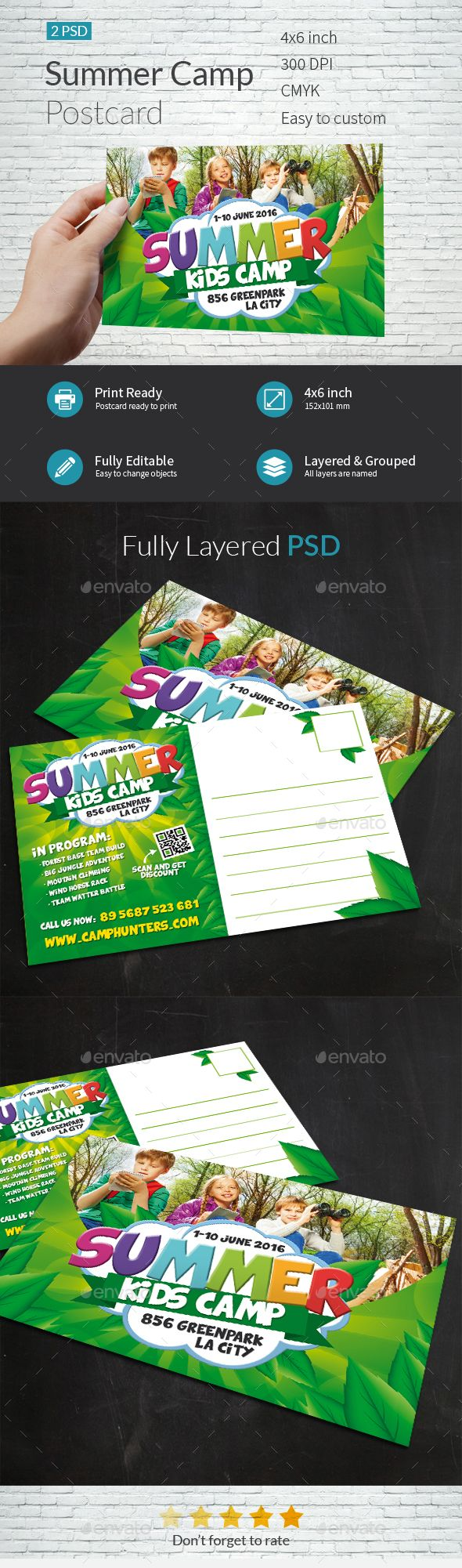 Summer Camp Postcard Template