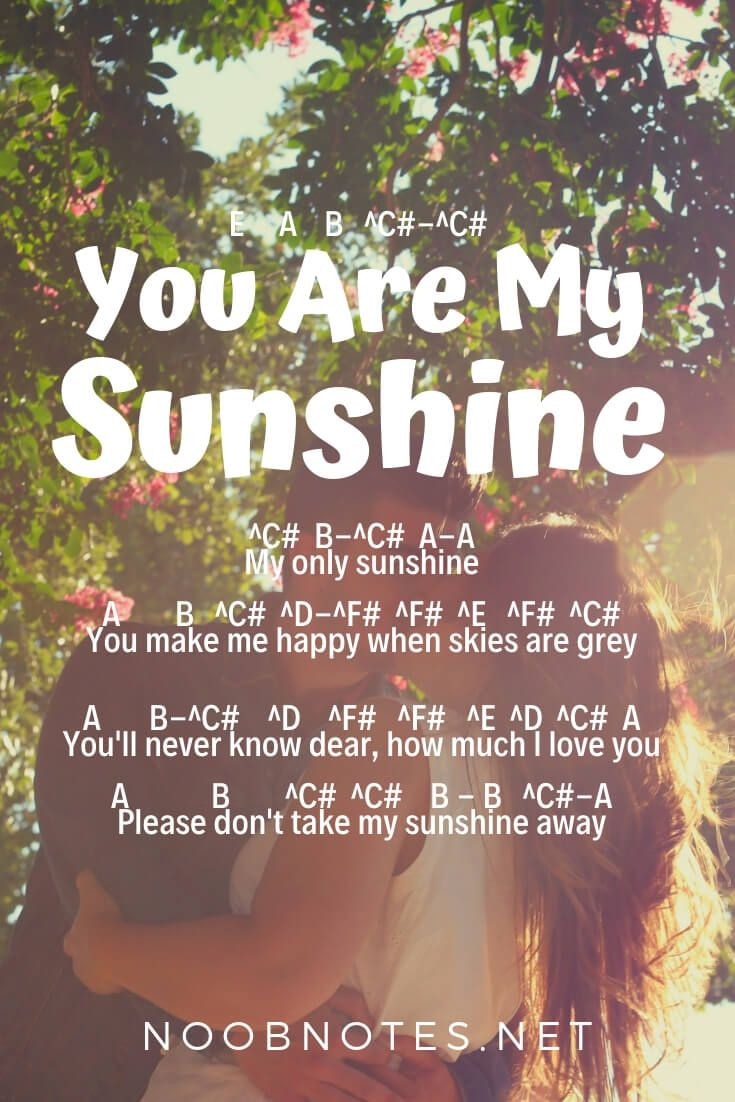 You Are My Sunshine - Johnny Cash - music notes for newbies