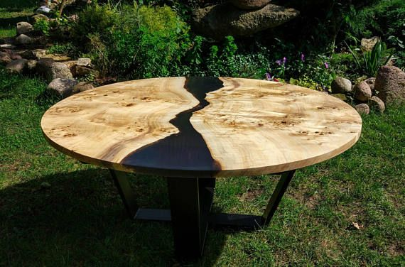 Live Edge Big Round River Coffee Table With Epoxy Resin Okragly