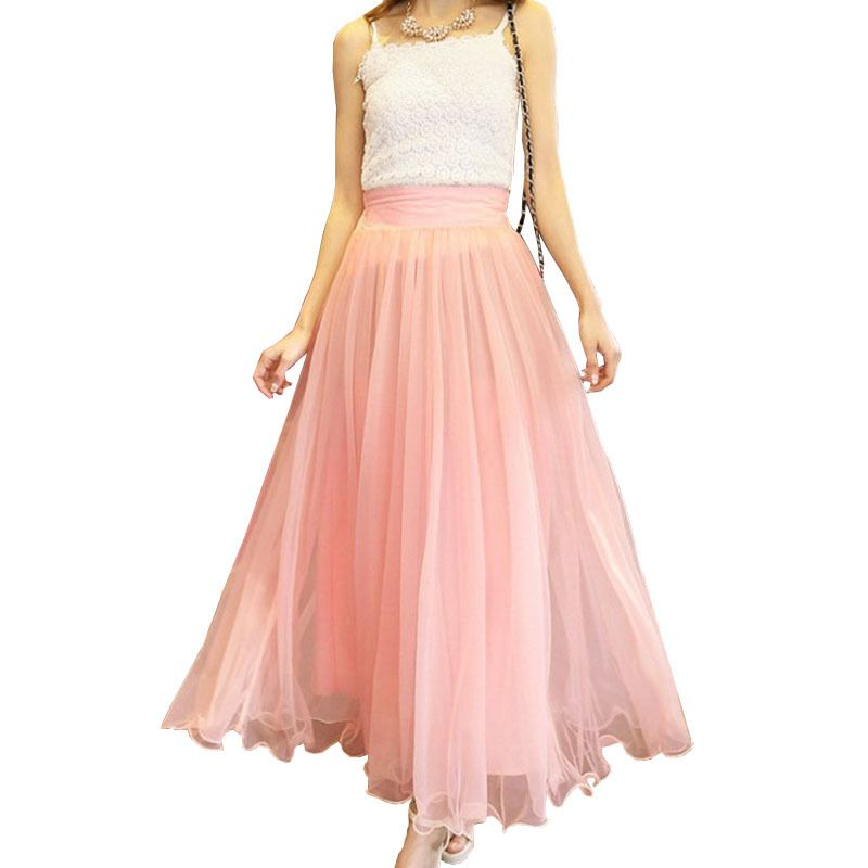 Long Flowy Skirt 2015 Summer Women Maxi Adult Tulle Princess ...