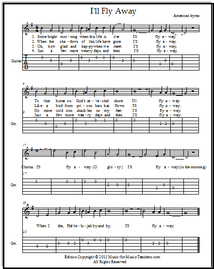 Hymn I\'ll Fly Away for guitar with easy guitar tabs | Tabs, Sheet ...