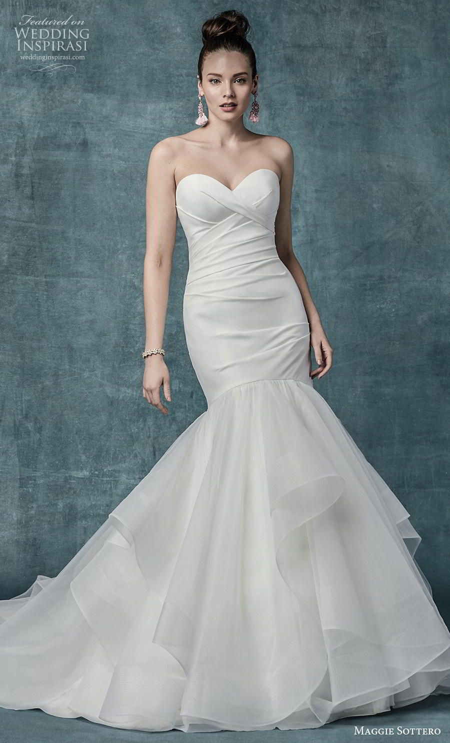dbaef569522 maggie sottero spring 2019 bridal strapless sweetheart neckline wrap over  ruched bodice simple elegant mermaid wedding dress mid back chapel train  (8) mv ...