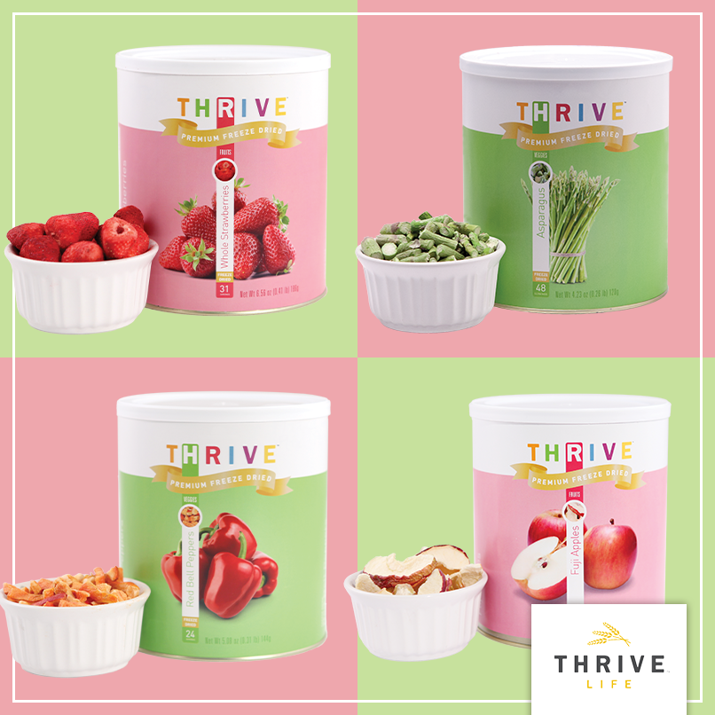 THRIVE Fruits and Veggies. Freeze dried produce stays