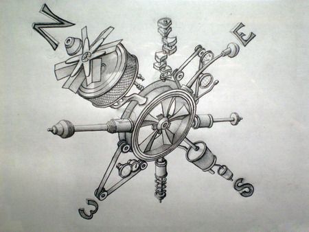 Compass Tattoo Line Drawing : Mechanical compass ink ed tattoo and tatoo