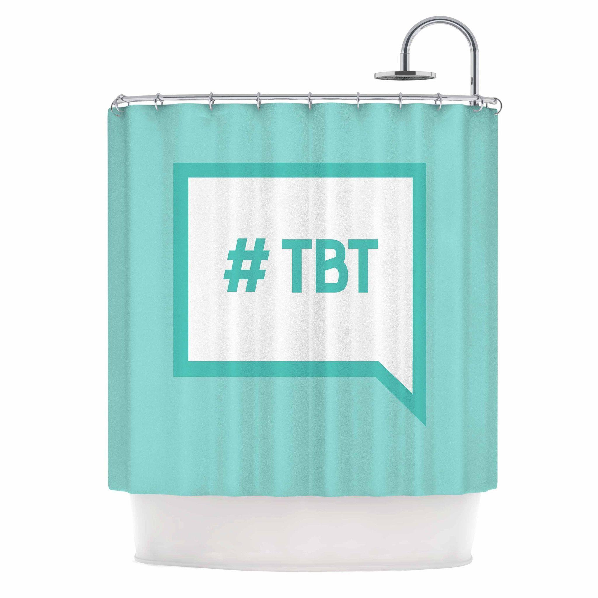 "KESS Original ""Throw Back Thursday"" Teal White Shower Curtain"